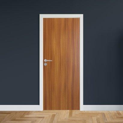 ประตูไม้เมลามีน สี Brazilian Teak  Series5 แบบบานเรียบ