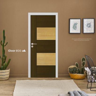 ประตูไมเเมลามีนลีโอวูด ประตูห้องนอน สำหรับใช้งานภายในบ้าน เซาะร่อง สลับ2สีลายไม้Walnut-WhiteTeak
