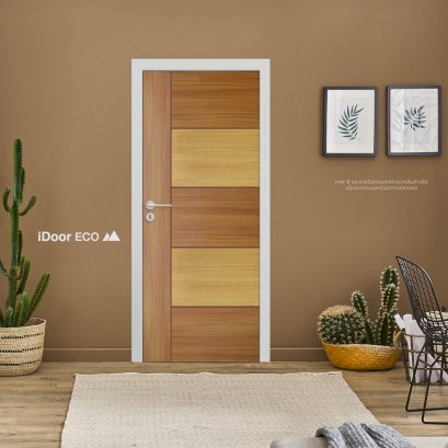 ประตูไมเเมลามีนลีโอวูด ประตูห้องนอน สำหรับใช้งานภายในบ้าน เซาะร่อง สลับ2สีลายไม้ Brazilian Teak-White oak