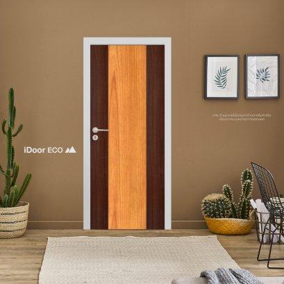 ประตูไมเเมลามีนลีโอวูด ประตูห้องนอน สำหรับใช้งานภายในบ้าน เซาะร่อง สลับ2สีลายไม้ Mahogany-Cherry