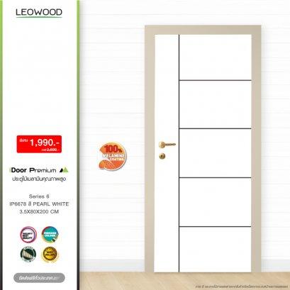 ประตูไม้เมลามีน iDoor S6 ลาย 06 สี Pearl white ขนาด 3.5x80x200 ซม.