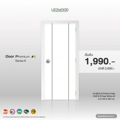 ประตูไม้เมลามีน iDoor S6 ลาย 01 สี Pearl white ขนาด 3.5x80x200 ซม.