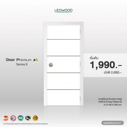 ประตูไม้เมลามีน iDoor S6 ลาย 05 สี Pearl white ขนาด 3.5x80x200 ซม.