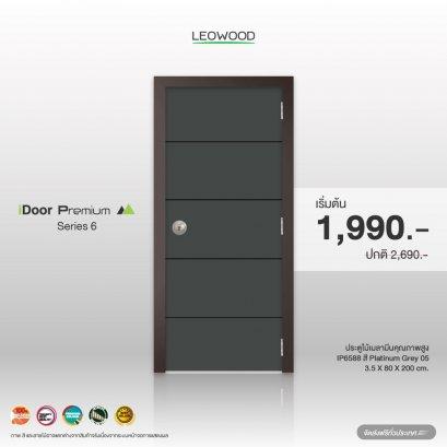 ประตูไม้เมลามีน iDoorS6 ลาย05 สี Platinum Grey ขนาด 3.5x80x200ซม.