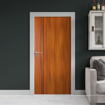 ประตูไม้เมลามีน สี Brazilian Teak  Series6 ลาย01 แบบเซาะร่อง