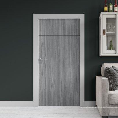 ประตูไม้เมลามีน สี Cinereo Oak Series6 ลาย03 แบบเซาะร่อง