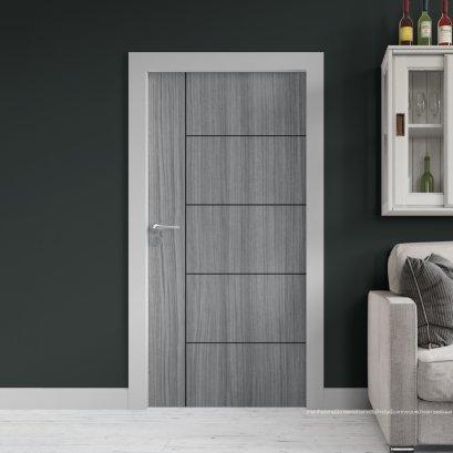 ประตูไม้เมลามีน สี Cinereo Oak Series6 ลาย06 แบบเซาะร่อง
