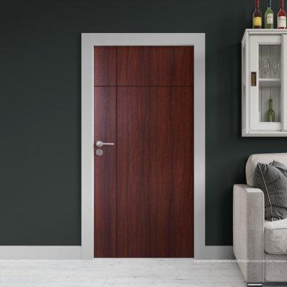 ประตูไม้เมลามีน สี Mahogany Series6 ลาย03 แบบเซาะร่อง