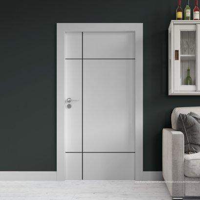 ประตูไม้เมลามีน สี Pearl white Series6 ลาย04 แบบเซาะร่อง