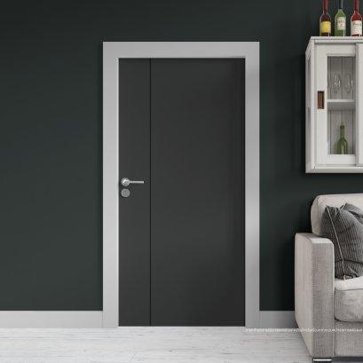 ประตูไม้เมลามีน สี Platinum Grey Series6 ลาย01 แบบเซาะร่อง