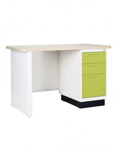 โต๊ะเหล็กหน้าไม้ 3 ลิ้นชัก