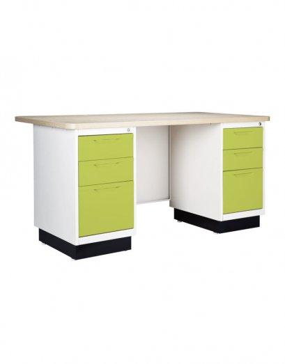 โต๊ะเหล็กหน้าไม้ 6 ลิ้นชัก