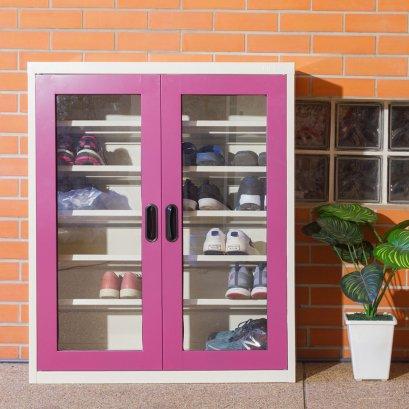 ตู้รองเท้า บานเปิดกระจก