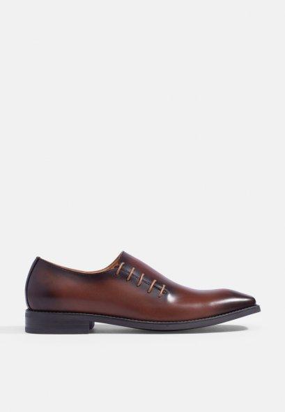 รองเท้าแบบสวมหนังแท้ Burnished Gradient Side-Lace Leather
