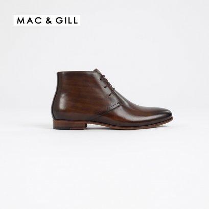 รองเท้าหนังแท้แบบผูกเชือกสีนำ้ตาล CHUKKA LEATHER BOOT LACEDUP IN BLACK FORMAL AND CASUAL