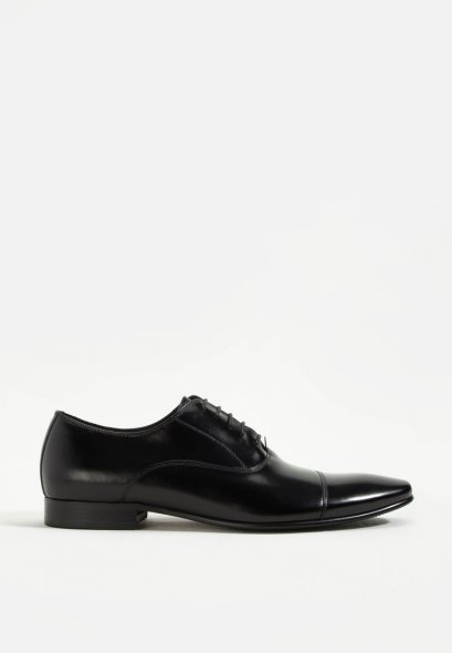 BLACK OXFORDS CAPTOE LEATHER SHOES