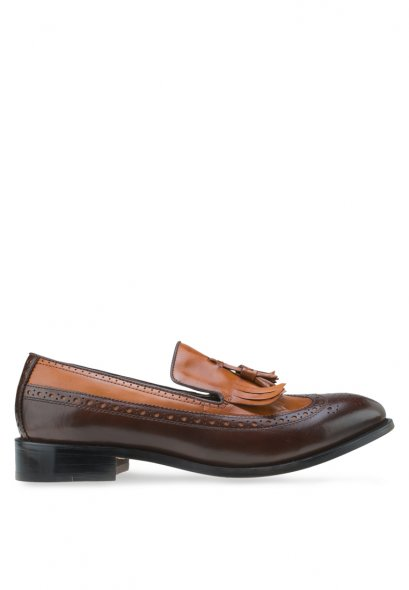 Mac & Gill Two-Toned Brogue Tassel Fringe Wingtip Loafers