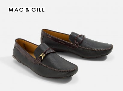 Men's LEATHER LOAFER YORK PIPE BLACK FORMAL AND CASUAL Wear MAC&GILL