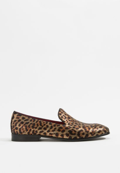 LEOPARD PRINT LEATHER LOAFERS