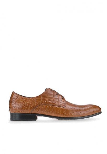 รองเท้าหนังแบบผูกเชือก Brown business Shoes in Crocodile Leather CROC DERBY