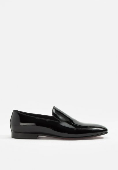 DANDELION BLACK LEATHER SLIP-ON SHOES GOODYEAR WELDTED