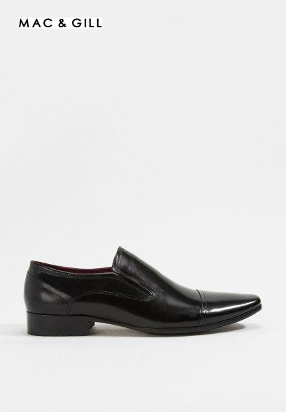 รองเท้าผู้ชายหนังแท้แบบสวมทางการและออกงานสีดำ Austin Black Leather Business Classic Shoes Formal and casual wear