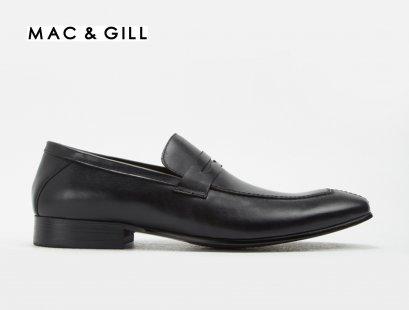 รองเท้าผู้ชายหนังแท้แบบโลฟเฟอร์สีดำ FELIPE Black Leather Slip on Shoes