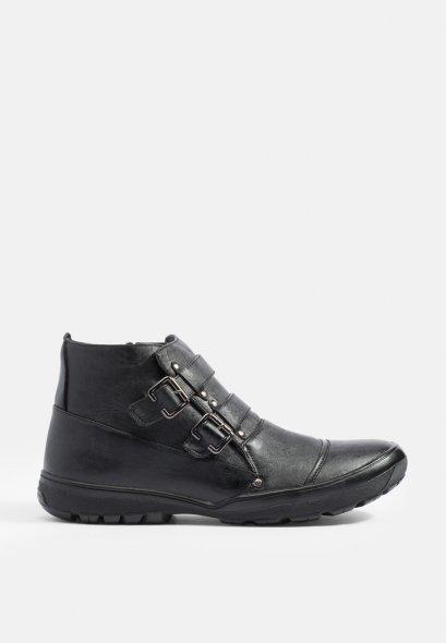 รองเท้าบู้ทส้นแบน Double-Strap Zipped-Side
