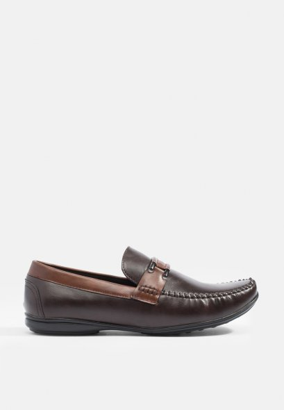 Two-Toned Metal-Strap Loafers Moccasin Loafer shoes