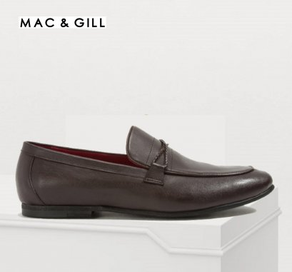 Barnes Braided Band Moccassin Brown Leather Slip-on Shoes for Men