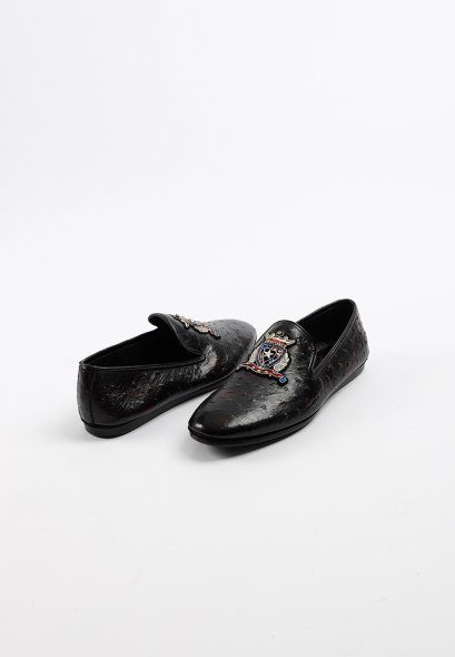 Classy Design  Slip on Leather loafer with embrodierty in Dark Maroon