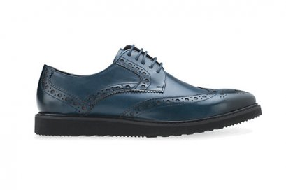MAC and GILL Men Leather shoes Full Brogue Derby in Navy