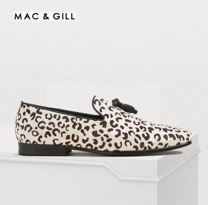 TASSILO White LEOPARD PRINT LEATHER LOAFERS