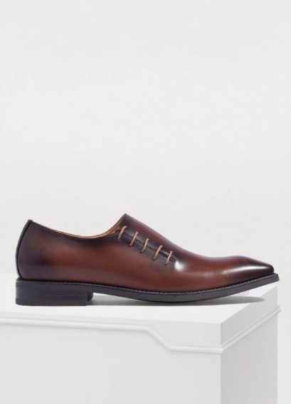 LEATHER SLIP-ON SHOES BURNISHED GRADIENT GOODYEAR WELTED SHOES
