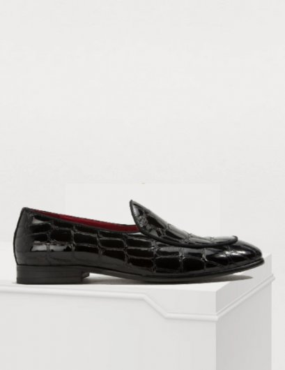 รองเท้าโลฟเฟอร์ Crocodile Leather LOAFER SHOES Patent Leather