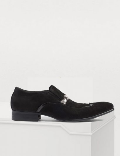 SUEDE WINGTIP LEATHER LOAFERS