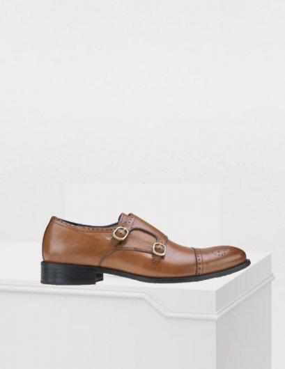 รองเท้าผู้ชายหนังแท้แบบ Monk-Strap Leather Shoes perforated