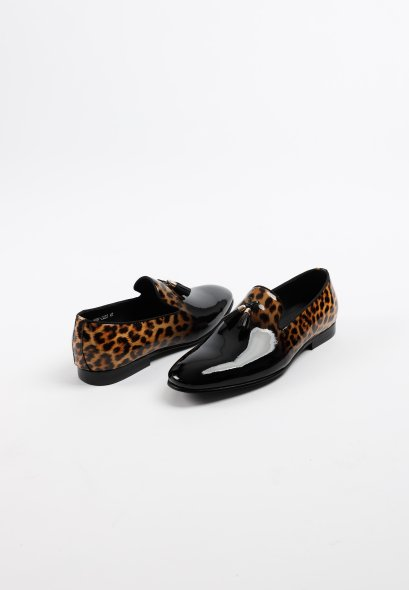 Classic BLACK/Leopard Patent LEATHER SLIP-ON SHOES