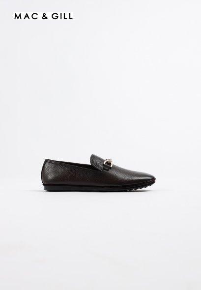 รองเท้าโลฟเฟอร์หนังแท้ Minimalist Grained Leather Premium Loafer Dark Brown