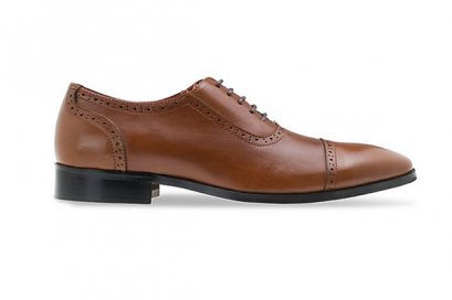 Brown Leather Lace Up Oxfords Half Brogue - Tan