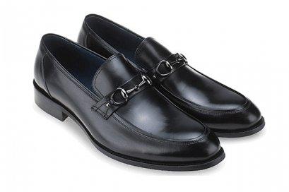 รองเท้าโลฟเฟอร์หนังแท้แบบส่วม Black Leather Loafers Genuine Leather