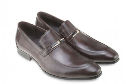 Classic Moc Toe Slip-on loafers dress shoes in Dark Brown