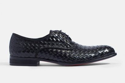 Buono Woven Leather Lace-Up Shoes  BRAIDED DERBY LEATHER SHOES