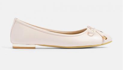 รองเท้าบัลเล่ต์ Front Bow Gold Metal Ballet Flats