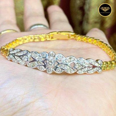 สร้อยข้อมือทองคำ ฝังเพชรเบลเยี่ยมแท้  F Color VVS 1.5ct Gold 17g