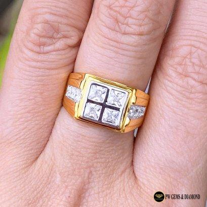 แหวนเพชรเบลเยี่ยมชายทรงสี่เหลี่ยม D Color VVS 0.98ct