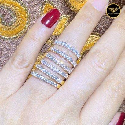 แหวนแถวเพชรเบลเยี่ยมแท้ รุ่นพิมพ์นิยม 0.33 กะรัต