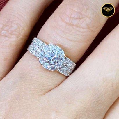 แหวนเพชรเบลเยี่ยมแท้ น้ำ E Color VVS 1.47ct H&A