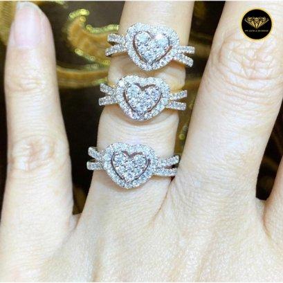แหวนเพชรเบลเยี่ยมแท้ ทรงหัวใจ D Color VVS 0.80ct