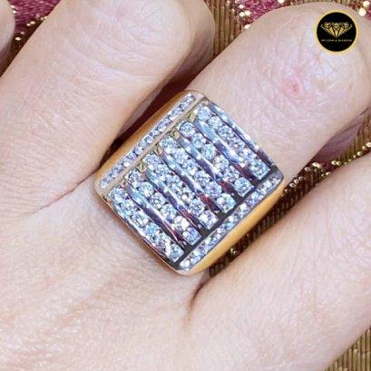 แหวนเพชรแถวใหญ่ เพชรเบลเยี่ยมแท้ D Color VVS 1.82ct